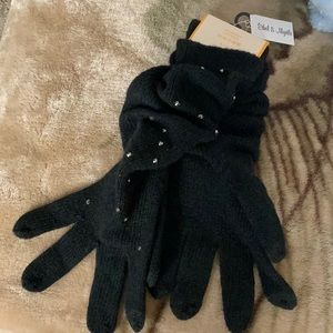 Black knit gloves with silver stones.